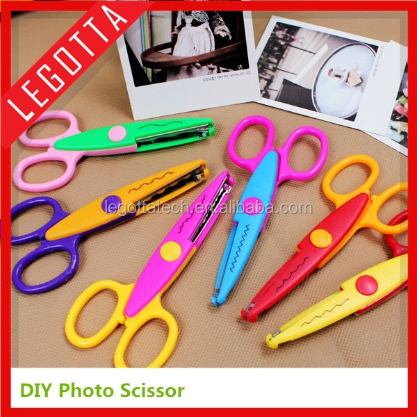 Safety kids scissors for DIY photo album handmade, 6 patterns laciness scissors promtional products