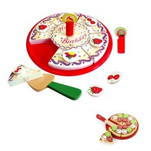 Dramatic play baby toys educational wooden birthday party cake set
