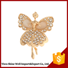 Magnetic Gold Plating Butterfly Shaped Rhinestone Necklace Pendant