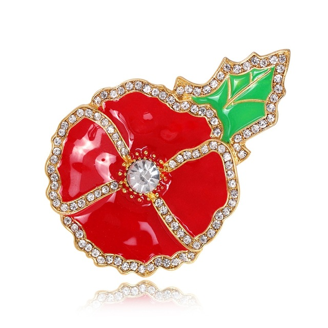2016 Cheap Hot Sell Women Red Flower Alloy Full Rhinestone Brooches Pins Collar Clip Fashion Jewelry