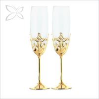 High Quality Gold Plated Metal Wholesale Champagne Glass