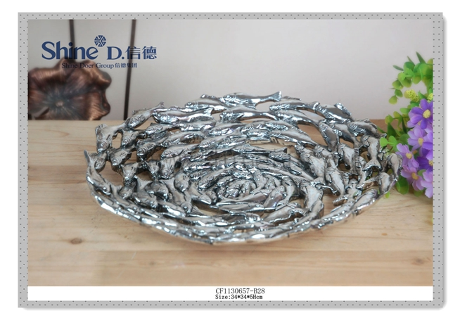 Fancy Silver hand carved decorative sardine plate design