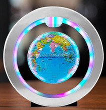 Factory sales 4 inches colorful levitate luminescent rotation office decoration creative birthday gift magnetic levitation globe
