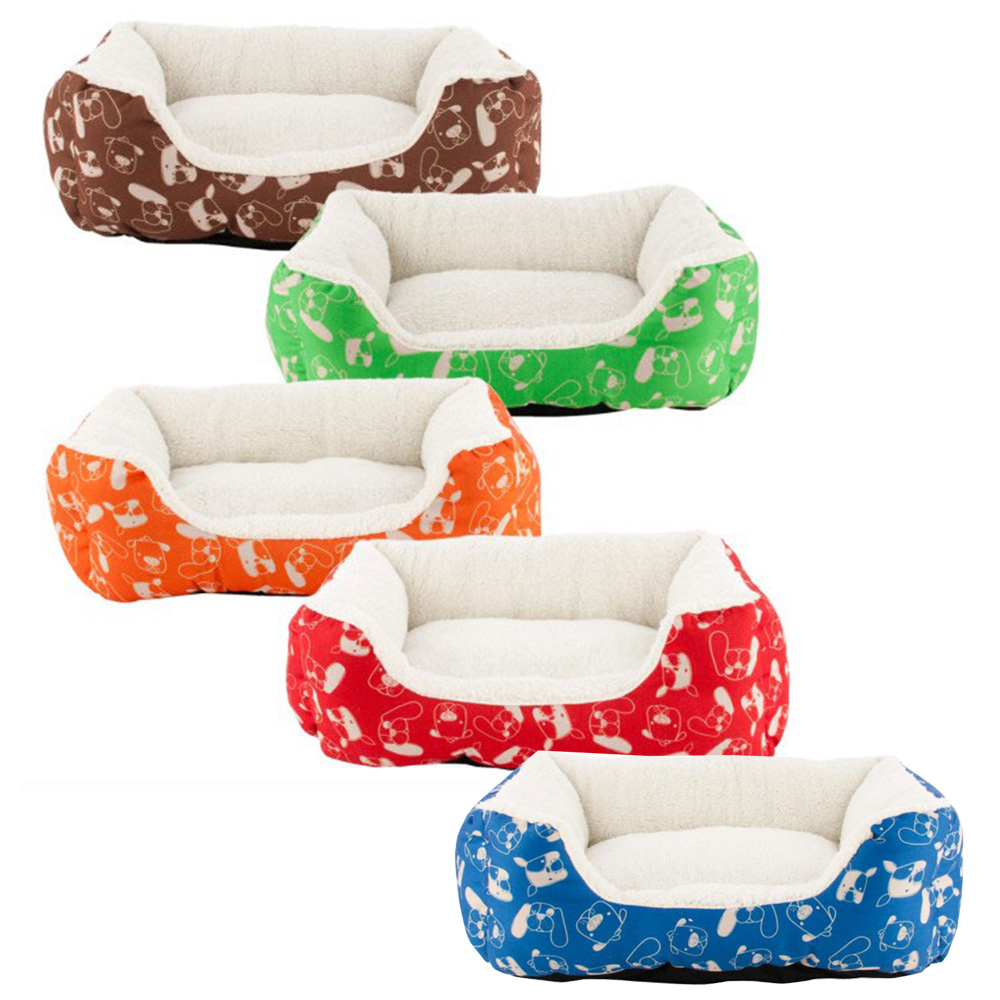 Colorful Rectangle Bones and Paws Dogs Print Pet Bed