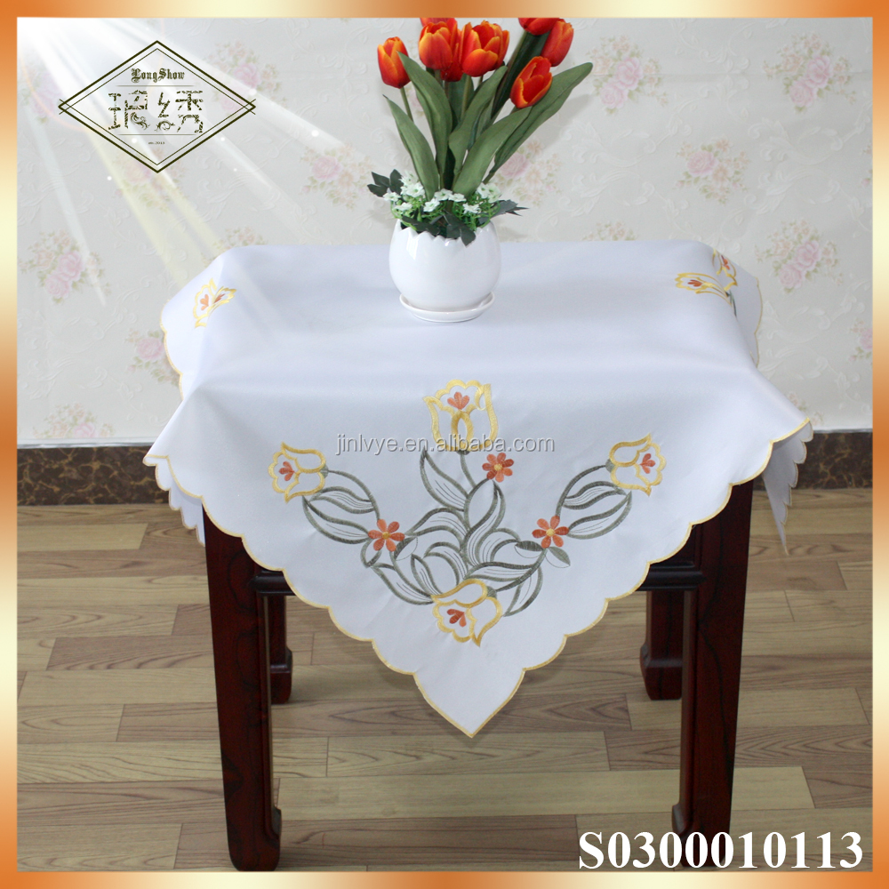 Elegant royal embroidery lily floral table cloth