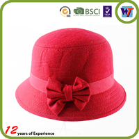 Fashion Wool Cap custom diamond Felt Available black and red fedora hat