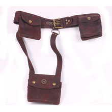 Vintage brown cotton bullet gear Steampunk belts ,waist belts with bags