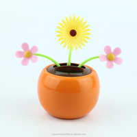 newly design sun flower solar powered dancing flower, car decorative gift sun doll factory wholesale