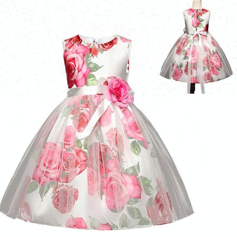Bebé Cumpleaños Vestidos Para 2018 Noche Flor Rosa Niños De shdQrxtCB