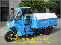 1.4m*2.1m big cargo box strong power sanitation tricycle/street clearing truck