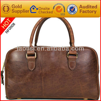 Fashion 100% leather duffel bag vintage leather traveling bags for men
