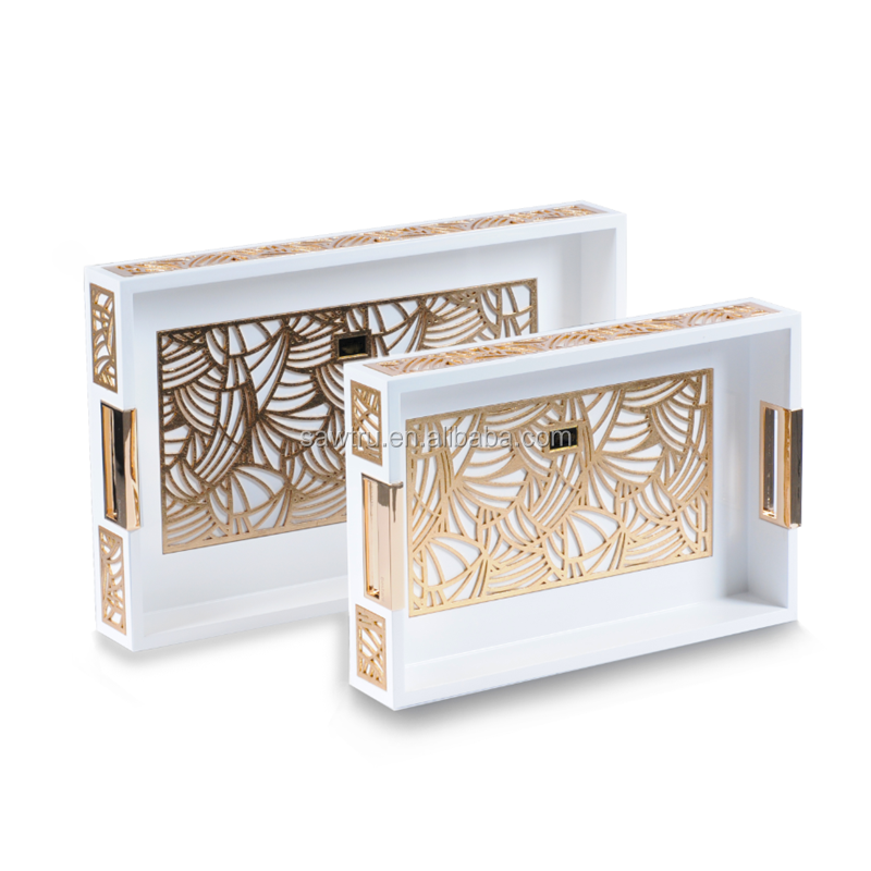 White color painting lacquer wedding serving luxury tray in wood material