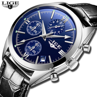 2018 LIGE Top Brand Chronograph Watch Strap Genuine Leather Luxury Watch Men with QuartZ Movt