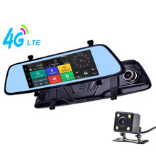 Live Streaming 4G 7 Inch Touch Screen Android Smart Rearview Mirror Dual-Camera Car DVR with Bluetooth and Navigation
