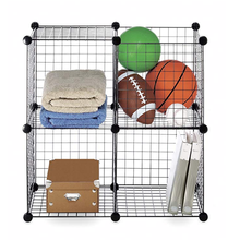 DIY freedom assembly bookshelf pet cage wardrobe stackable interlocking furniture iron mesh wire storage <strong>shelves</strong>
