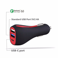 5V 4.8A fast Qualcomm QC 3.0 3 usb multi portable Car charger with port USB-C port