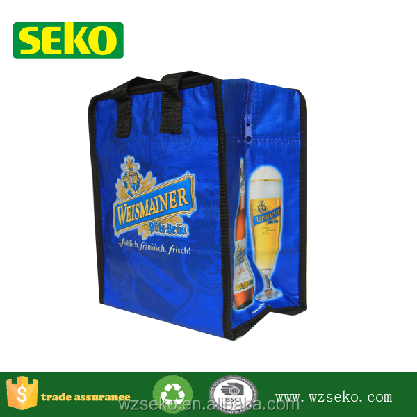 Custom printed 1.5l bottle wine cooler bag,6 pack cooler bag,beer bottle cooler bag