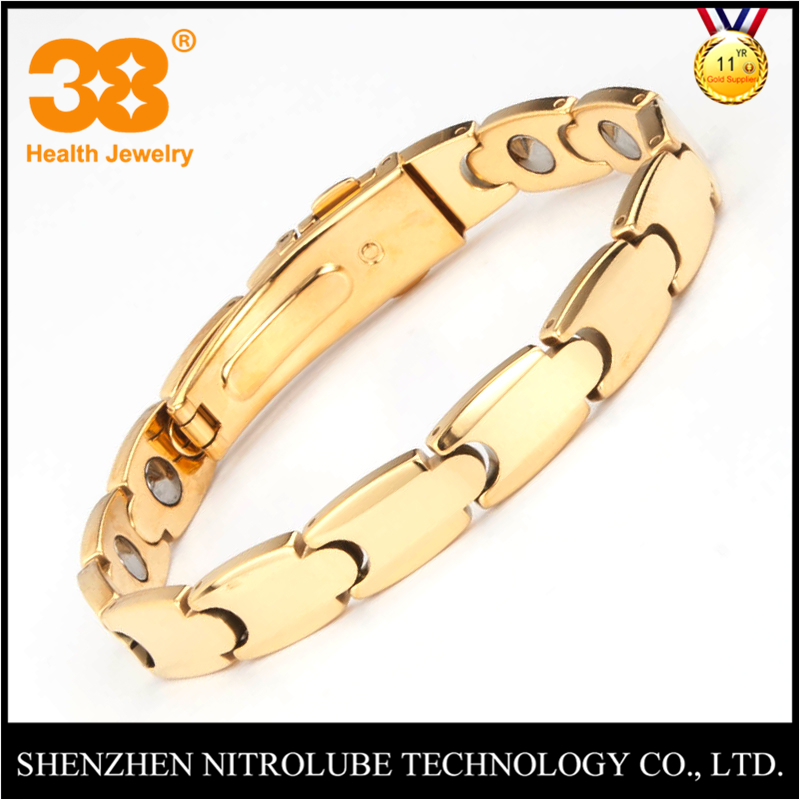 Couple design for men and women 316 stainless steel gold magnetic bracelet germanium bracelet japan with watch buckle