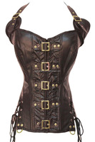 Coffee Buckle-up Steampunk Corset gothic clothing women bustier plus size