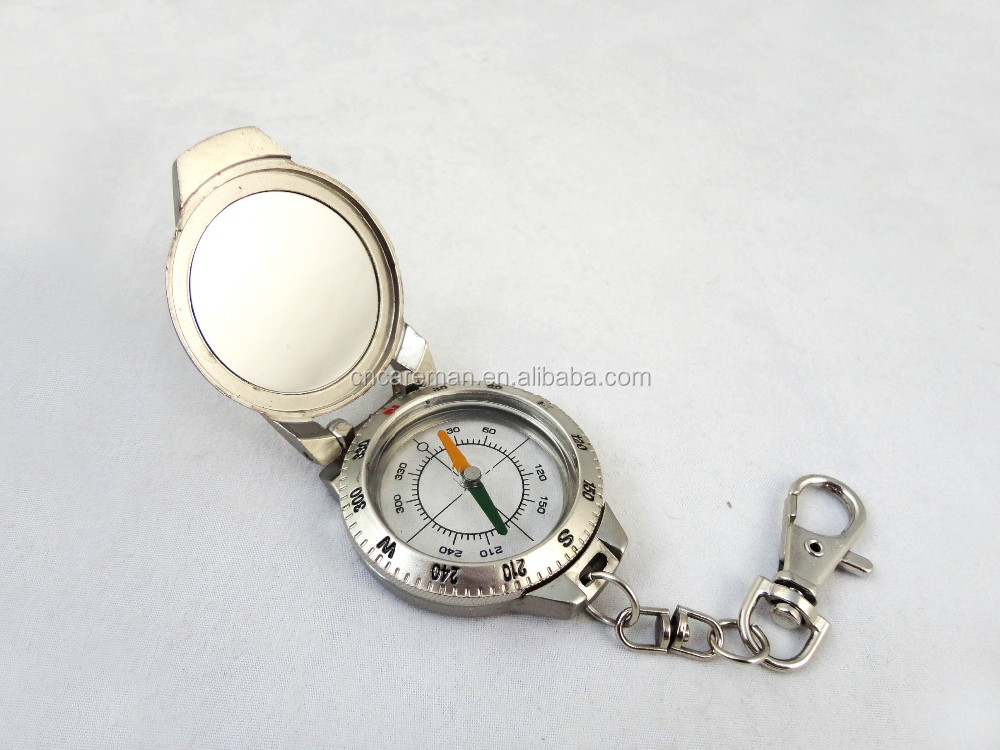 Antique Silver Color Pocket Compass with Reflecting Mirrow Lid, Keychain Zinc Alloy Gift Compass OEM Orders Accepted