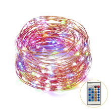 Waterproof 10m 33ft 100 Pcs Warm White Leds Copper Wire 3aa Battery Operated Remote Control RGB Led String Lights