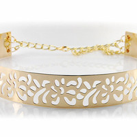 Fashion Ladies Gold Metal Belt