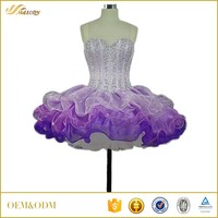 Organza satin ruffle ball gown new design beaded girls fashion dress