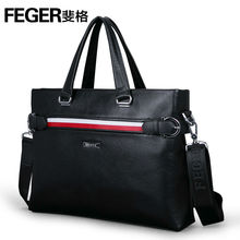 Black Cow Leather Business Shoulder Bag Men's Briefcase in Leather