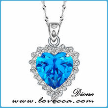Made in China wholesale charms accessory blue heart stone pendant necklace for party gift
