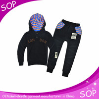 Manufacturer black casual boys training suits made in china
