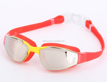 silver mirror coating silicone swim goggle