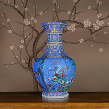 Jingdezhen OEM blue gold flower and bird six square china ceramic vase GM.ZS.0005
