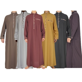 2018 New Design 6 Color Long Sleeve Arabic Thobe Abaya For Men