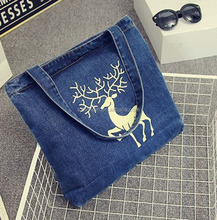 Wholesale portable handheld thickening denim canvas shopping bag