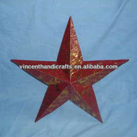 Rustic vintage style red metal hanging barn star for garden decor