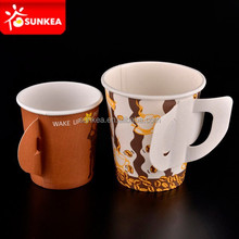 Hot drinks paper cups with handle