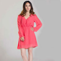 YIGELILA Fashion Lady High Waist Long Sleeve Pink Chiffon Casual Dress 661