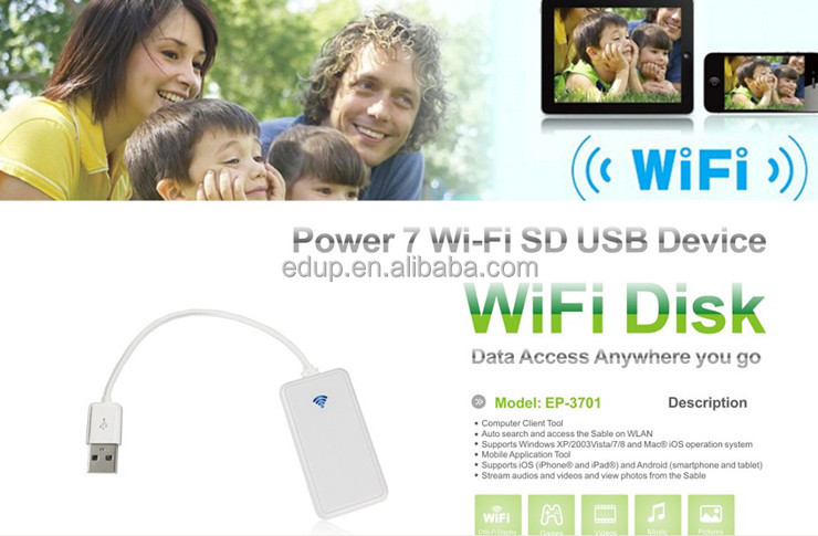 Factory Price USB SD card reader portable external WIFI Hard disk for PC tablet smartphones EP-3701