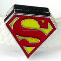 Hot Sale Superman 8mm Slide Charms Cheap DIY Beads Wholesale