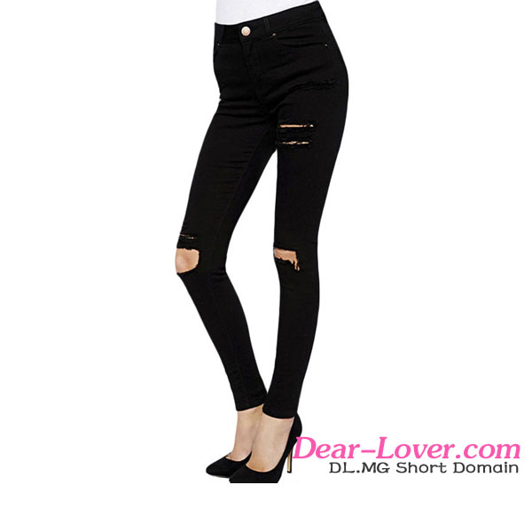 Wholesale fashion Black Ripped Knee Skinny jeans shorts women 2016