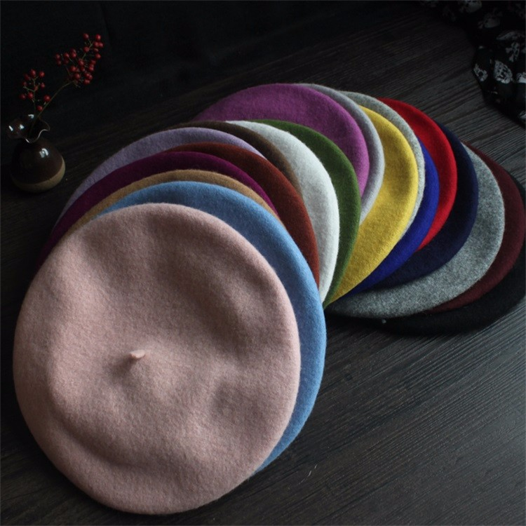 High Quality Softy Warm Winter Hat Colourful Peaked Women Beret Cap Military 100% Wool Beret