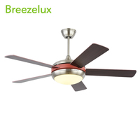 Hot Selling 52inch round chandelier wood grain blades ceiling fan light with remote control