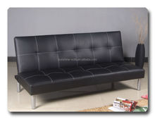 Black Leather Three Seater Sofa Cum Bed