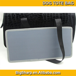 wholesale high quality portable carrier sided shoulder sling black PU dog tote bag
