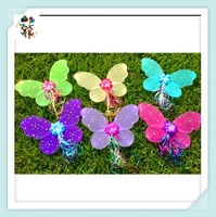 Cheap Children Girls Party Dance Glitter Fairy Wings with Flower HPC-1769