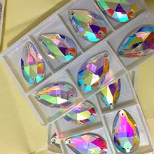 wholesale high quality nice box packing big size 22x38mm teardrop AB crystal sew on rhinestone