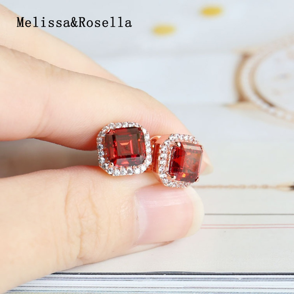 2017 China Wholesale Latest New Designs14K Rose Gold Bright Red Color Crystal CZ Ear Stud Jhumka Earring