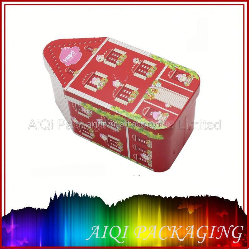 House shape candy tin box packaging for christmas/gift tin box