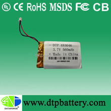 3.7V 560mAh li polymer battey 453046 hot sales model