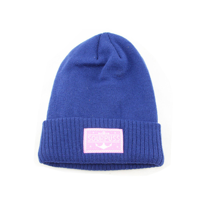 OEM wholesale customised lady navy blue jacquard thick line knitted beanie hat